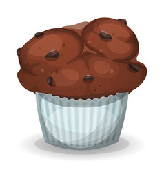 Classic american muffin with chocolate chips vector