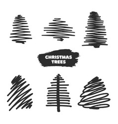 collection of hand drawn christmas trees vector image