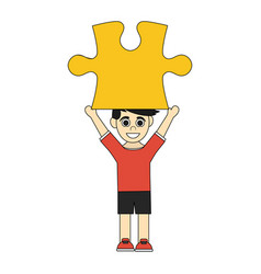 colorful caricature boy with red yellow piece up vector image