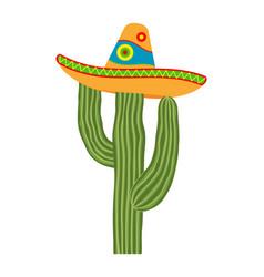 colorful cartoon cactus in sombrero hat vector image