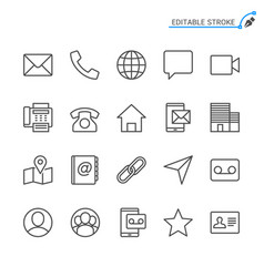 Contact line icons editable stroke vector