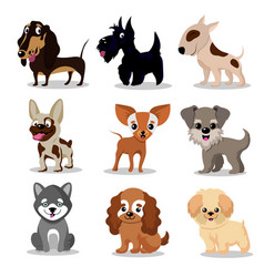 Cute happy dogs cartoon funny puppies vector