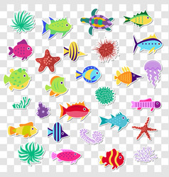 Cute stickers sea marine fish animals plants vector