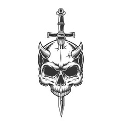 Demon skull pierced with knife vector