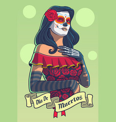 dia de los muertos lady in catrina dress vector image