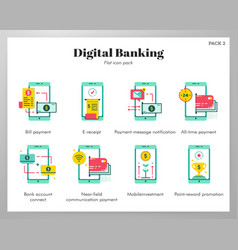 Digital banking icons flat pack vector
