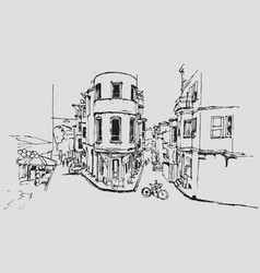 drawing sketch balat district in istanbul vector image