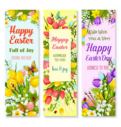 Easter spring flowers and eggs greeting banner set vector