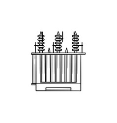 Electrical voltage transformer hand drawn outline vector