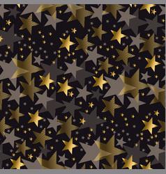 elegant gold and black stars seamless pattern vector image