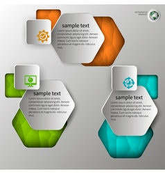 Embossed infographics in 3 steps vector