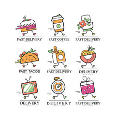 fast delivery logo creative template vector image