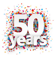 Fifty years paper confetti sign vector image