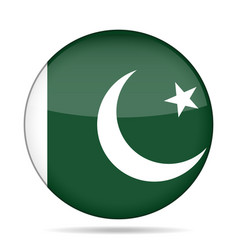 Flag of pakistan shiny round button vector