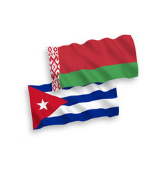 Flags cuba and belarus on a white background vector