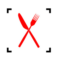fork and knife sign red icon inside black vector image