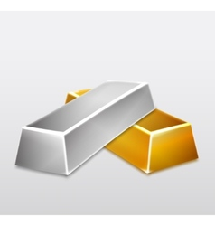 Golden and Silver Bars on white background vector image
