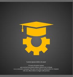 Graduation cap icon simple gear element symbol vector