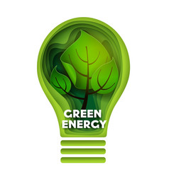 green energy layered paper cut style vector image