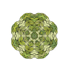 Green mandala with outline circle shape on white vector