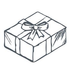 hand drawn contour box tied ribbon and bow vector image
