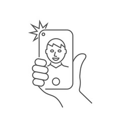 hand is holding smartphone and guy is taking a vector image