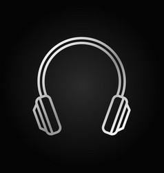 Headphone silver isolated icon in thin line vector