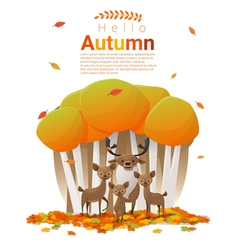 Hello autumn background with deers vector image vector image