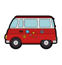 hippie bus van vector image