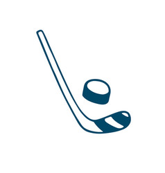 hockey stick and puck icon in doodle style vector image