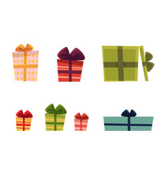Holiday present gift boxes set vector