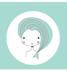 Horoscope Pisces sign girl head vector