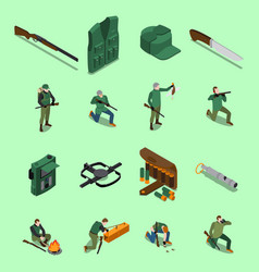 hunting isometric icons set vector image