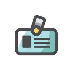 identification card badge icon cartoon vector image