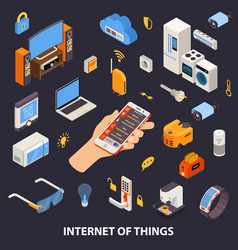 Internet Of Things Control Isometric Poster vector
