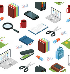 isometric office stationery elements vector image