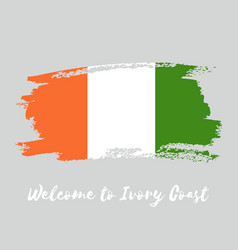 Ivory coast watercolor national country flag icon vector