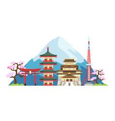 japan landmarks vector image