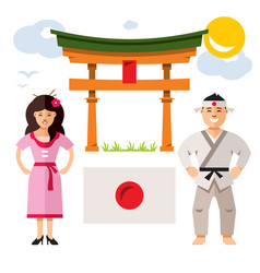 japan people flat style colorful cartoon vector image