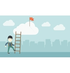 Japanese man with career ladder vector