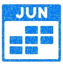 June Calendar Grid Grainy Texture Icon vector
