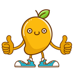 Kawaii smiling mango fruit with sneakers cartoon vector
