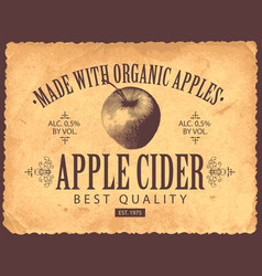 Label for apple cider in retro style vector