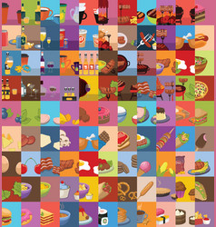 large set food icons vector image