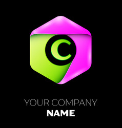 Letter c logo symbol in colorful hexagonal vector