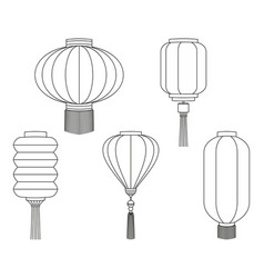 Line art black white chinese lantern collection vector