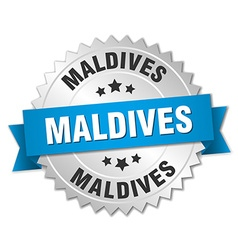 Maldives round silver badge with blue ribbon vector image vector image
