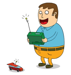 Man controlling toy car vector image
