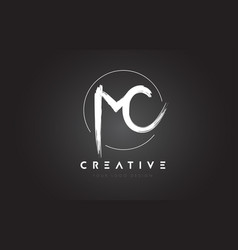Mc brush letter logo design artistic handwritten vector