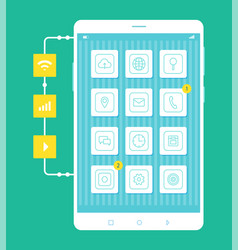 mobile phone screen closeup vector image